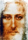 Colore in picture of Jesus which I believe was pulled from the Shroud of Turin.